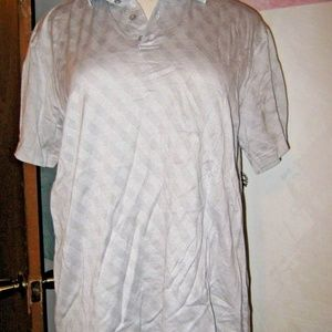 Gray White Diamond Stretch Knit Polo Shirt XL